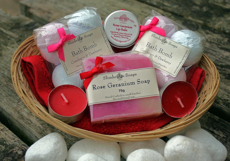 Bath Time Pamper Basket - Rose, Cranberry & Dewberry Slimbridge Soaps