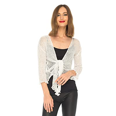 SHU-SHI Womens Sparkly Knit Sheer Shrug Cardigan Lightweight Tie Top White at Women's Clothing store