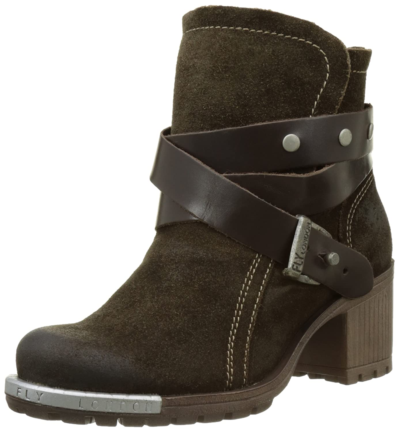 FLY London LOK - Botas estilo motero mujer36 EU|Marrón (Sludge/Dk.brown 007)