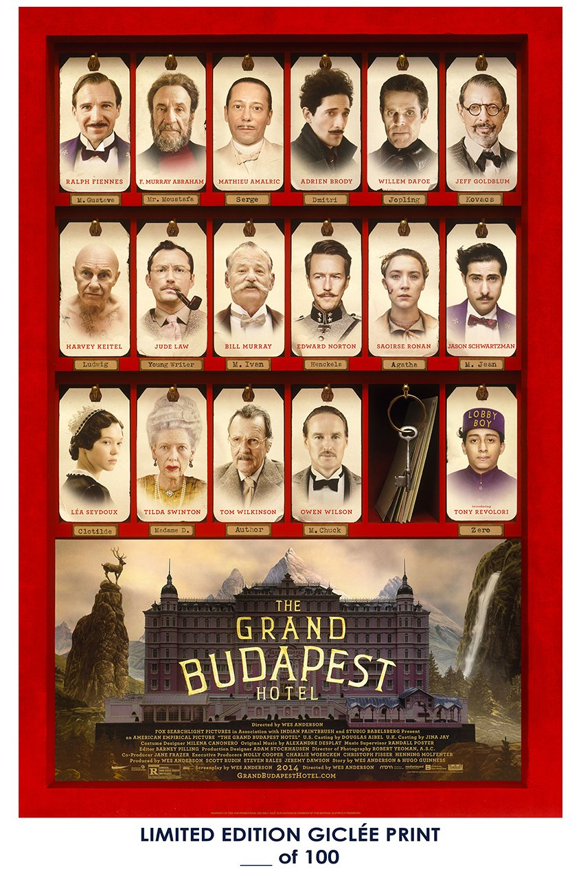 RARE POSTER thick tilda swinton THE GRAND BUDAPEST HOTEL ralph fiennes 2014 movie REPRINT #'d/100!! 12x18