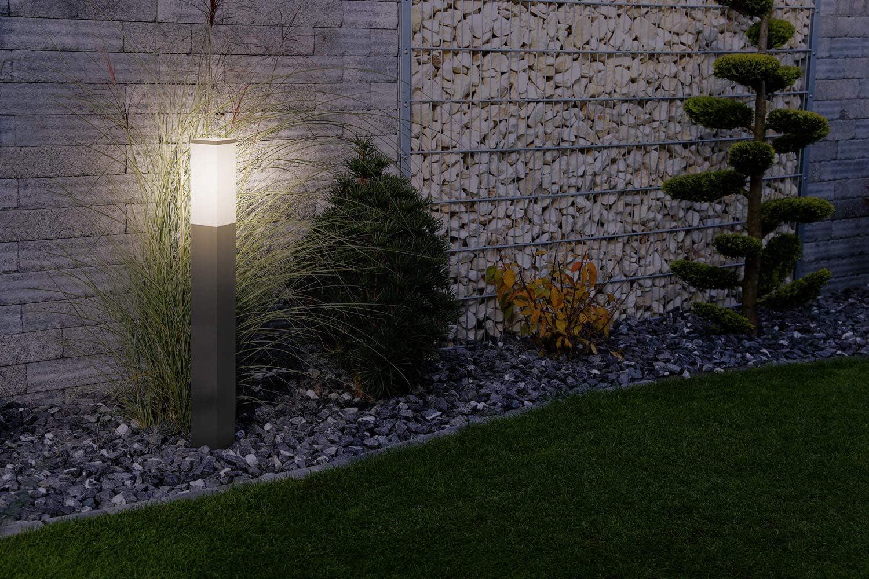 LED Universum Wegeleuchte mit 2 Steckdosen 80cm Edelstahl Außenleuchte Stehleuchte Energiesäule Stromsäule Stromverteiler für den Garten Gartensteckdose (edelstahl ohne Dämmerungssensor) Edelstahl Ohne Steckdosen