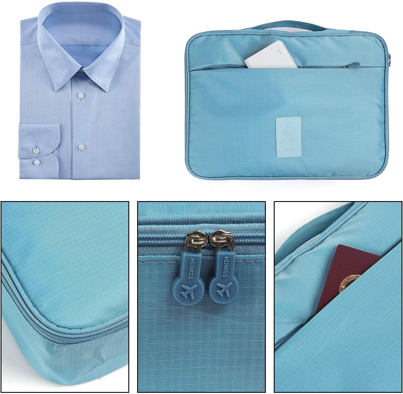 BeeViuc Housse de Voyage pour Chemises Homme Infroissables Transport de V/êtements Sac Organisateur avec Aide Pliage Cadeau pour Les Hommes Bleu