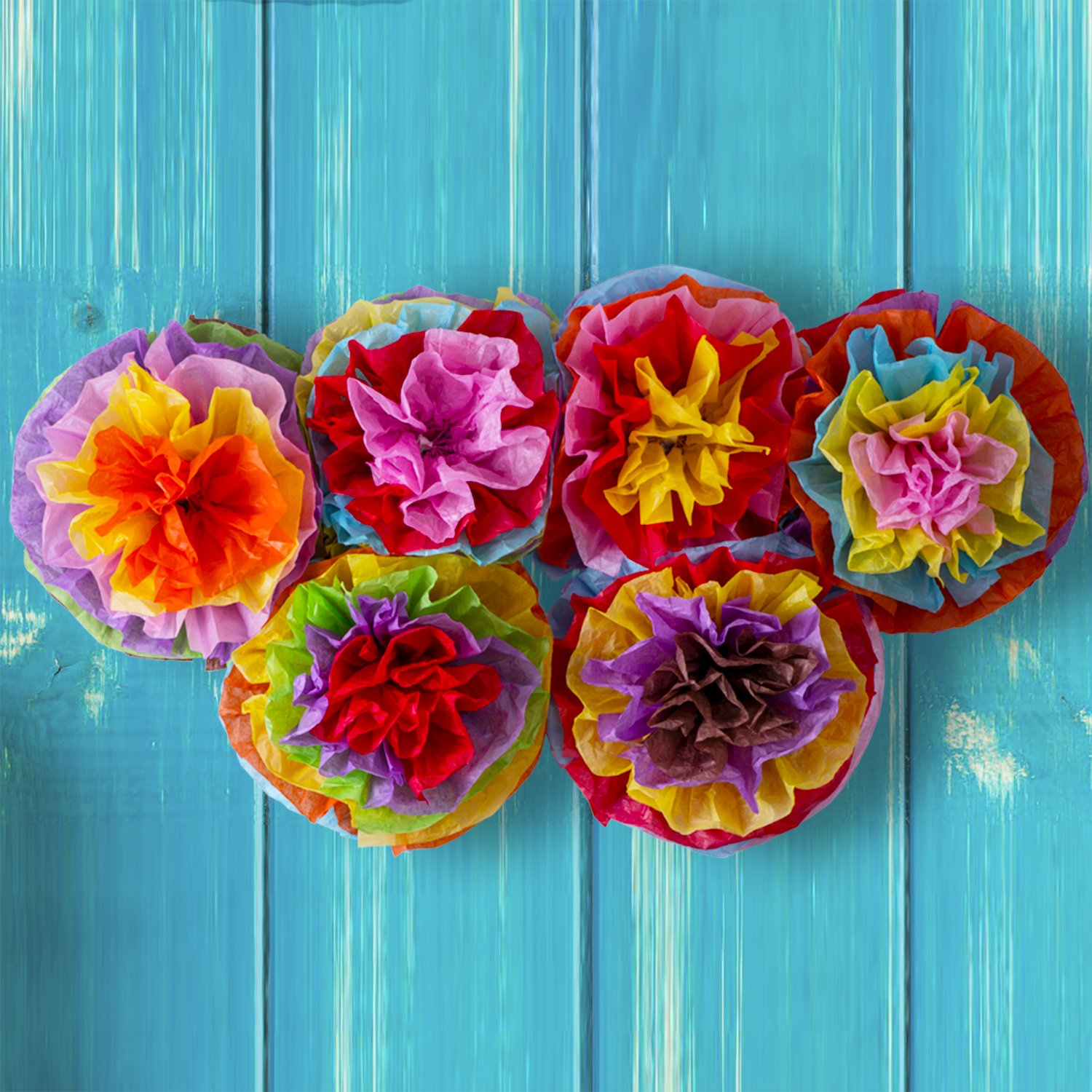 Cinco De Mayo Decorations Fiesta Tissue Pom Paper Flowers - Mexican Party Supplies 16'' (Set of 6) by Moon Boat