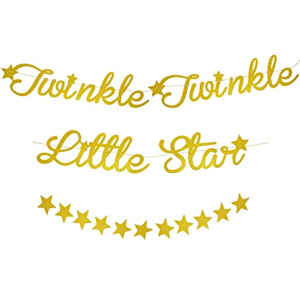 6864bee08592 Amazon.com: Blue Panda 2-Pack Twinkle Little Star Garland Banner  Decorations for Baby Shower, Gender Reveal, and Kids Birthday Party, Gold,  10-Feet: Toys & ...