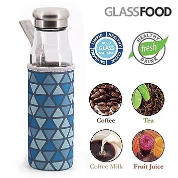 GlassFood Botella de Vidrio de 550ml con Funda de Neopreno y Tapon de Acero con Junta