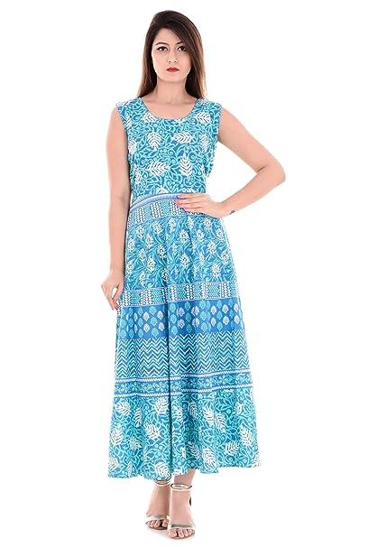 Vaidiki Women s Turquoise Colour Lehariya Floral Printed Flared Anarkali  Cotton Kurta 014dc7346