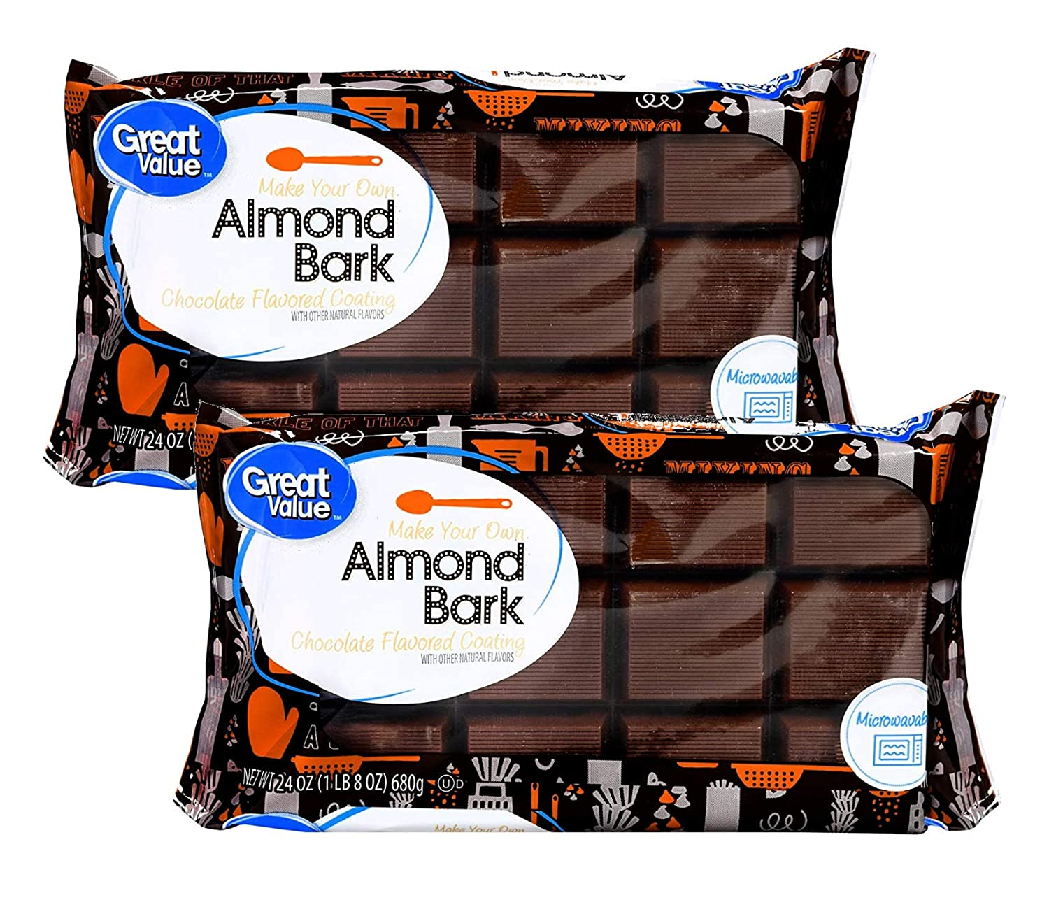 Great Value Make Your Own Almond Bark, Microwaveable Chocolate Coating for Baking, Toppings, Sweets - 2 Pck (48 oz)