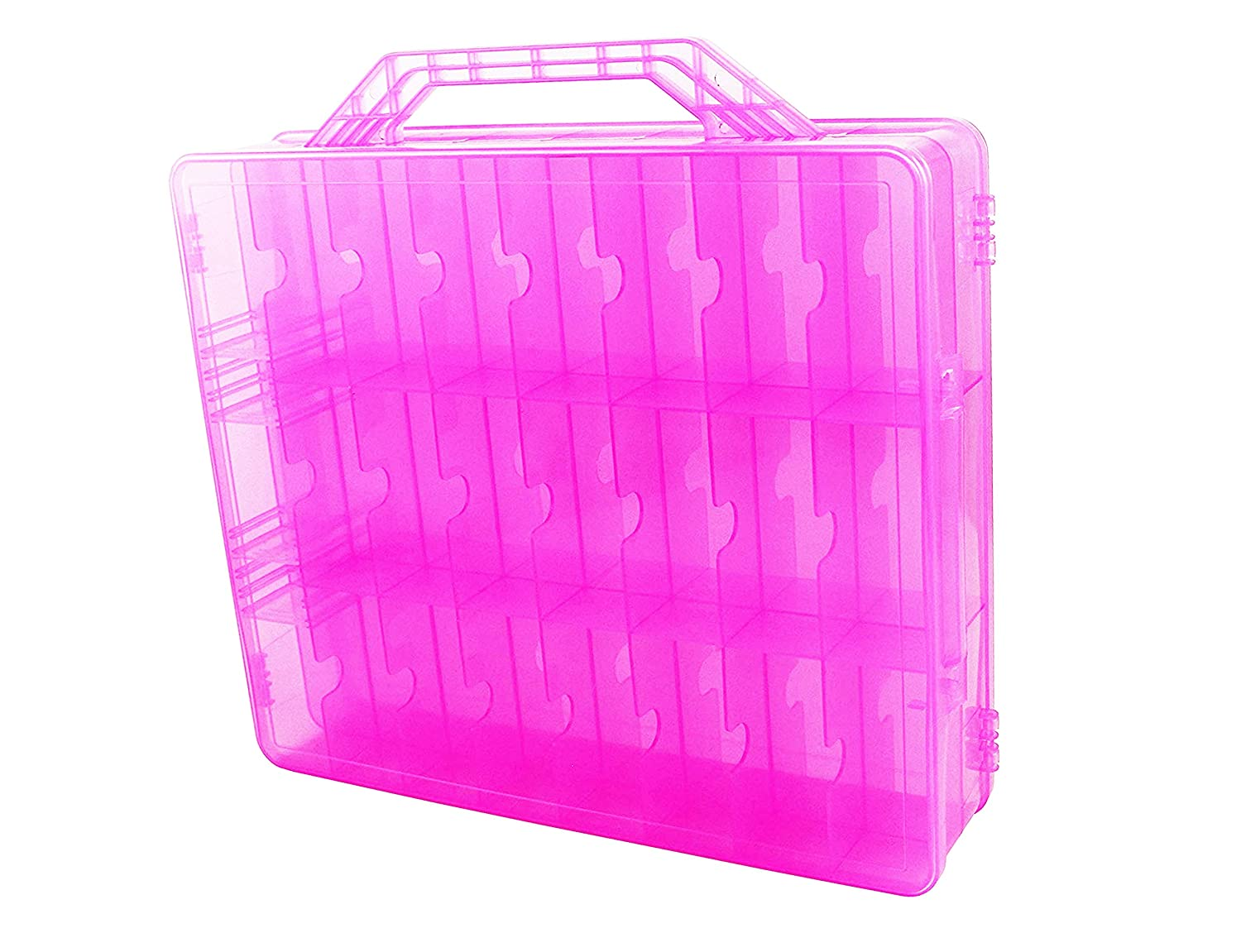 Perfect for Small Dolls and Toys Organizer Case Dolls Not Included Pink 48 Compartments HOME4 Double Sided Storage Container BPA Free