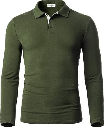 Derminpro Men's Cotton Polo Shirts Slim Fit Soft Thermal Long Sleeve Golf T-Shirts
