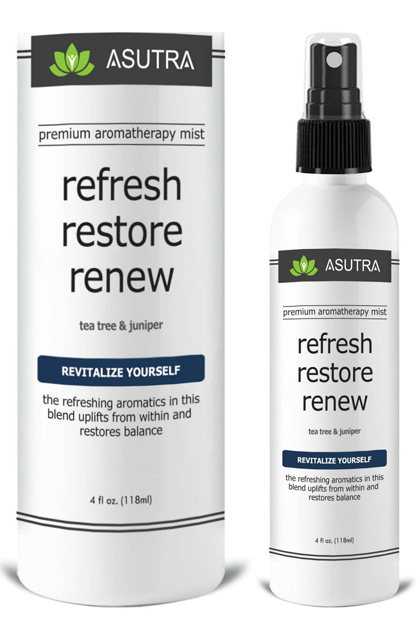 ASUTRA Premium Aromatherapy Mist -''REFRESH, RESTORE, RENEW'' - Revitalize Yourself - 100% ALL NATURAL & ORGANIC Room & Body Mist, Essential Oil Blend - Tea Tree & Juniper - 100% GUARANTEED