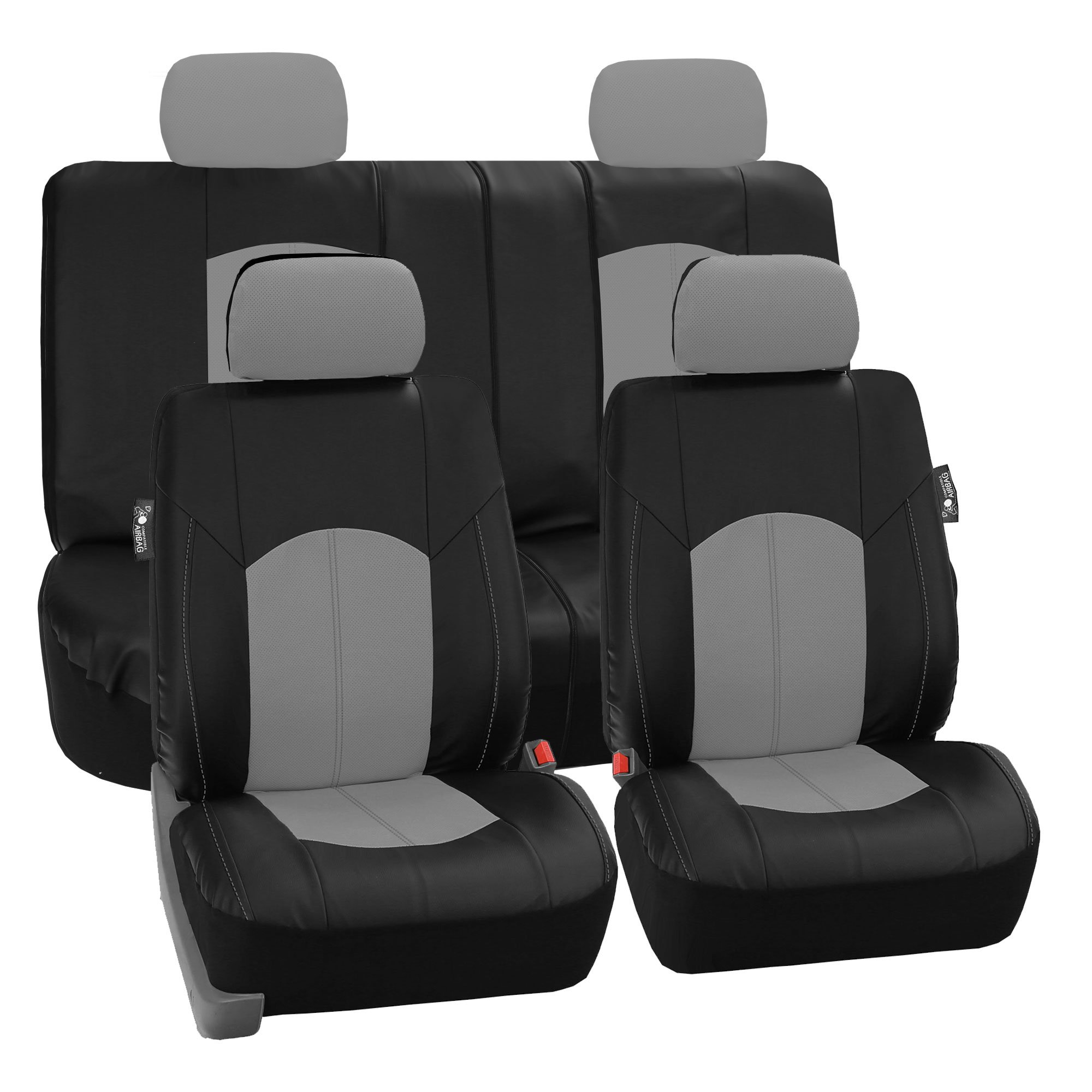 FH Group PU008114GRAYBLACK - Highest Grade Faux Leather Seat Covers