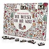 printplanet Adventskalender mit Namender tollste Opa der Welt - gefüllt mit Schokoladen-Füllung - personalisiert mit Namens-Motiv Christmasicons - Schoko-Kalender, Weihnachtskalender, Namenskalender