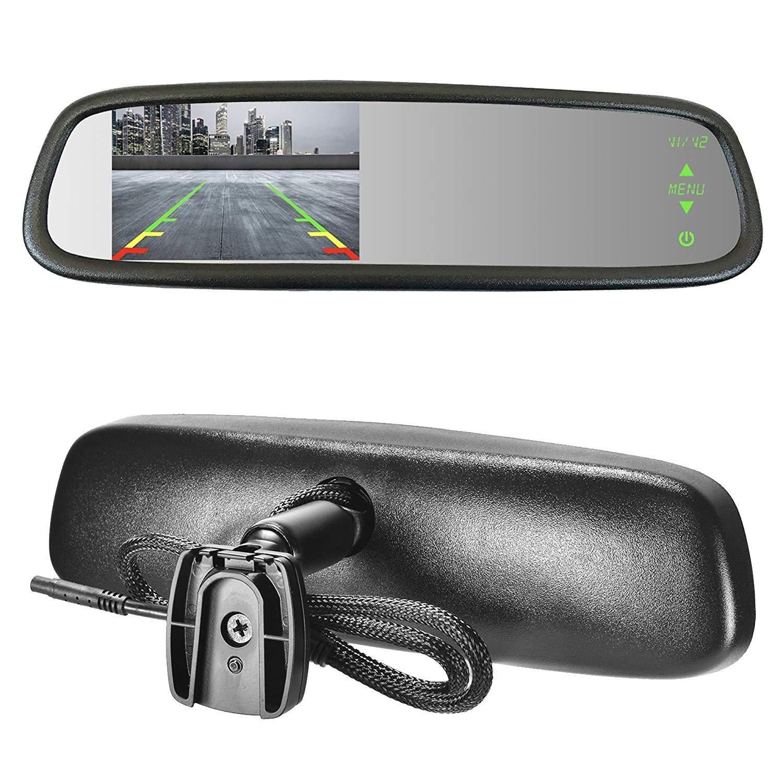 Master Tailgaters MR-43-D2 Sleek Rear View Mirror with Ultra Bright 4.3' Auto Adjusting Brightness LCD-Universal Fit MDDNR