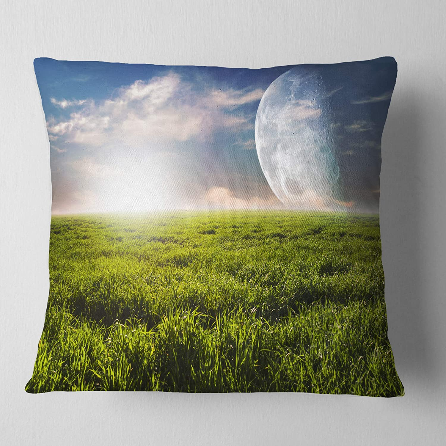 Designart CU14313-26-26 Green Field Under Bright Sunlight Landscape Printed Throw Cushion Pillow Cover for Living Room 26 in Sofa x 26 in.