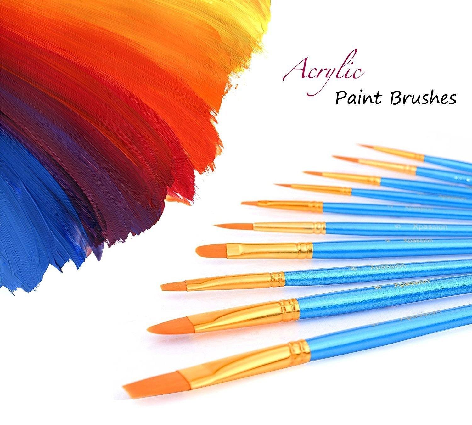 Artist Paint Brushes Set with Paint Trays Palette, ANNABOOM 10 Pieces Round Pointed Tip Nylon Hair Paintbrush for Watercolor Oil Acrylic Painting Students Kids Beginners YTH