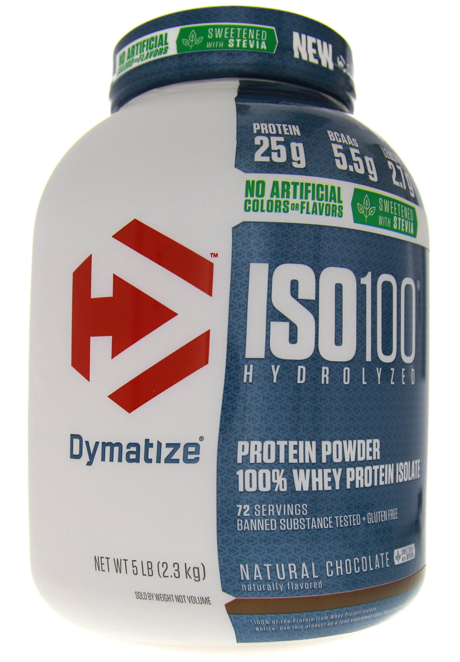 Dymatize ISO 100 Whey Protein Powder Isolate, Natural Chocolate, 5 Pound
