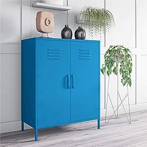 Novogratz Cache 2 Door Metal Locker Storage, Blue Cabinet