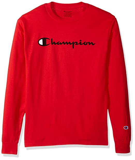b0e8a777e Champion Men's Classic Jersey Long Sleeve Graphic T-Shirt, Athletic Red,  Medium
