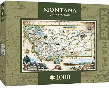 Amazoncom MasterPieces Xplorer Montana Map 1000 Piece Jigsaw
