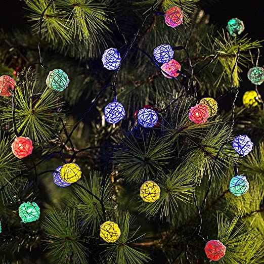Luci Di Natale, Emoonland 6 Metri Luci Natalizie Con 30 Palline In Rattan  Per Festa