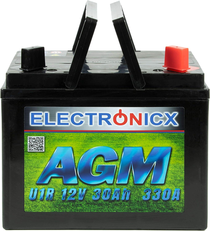 Electronicx Bateria de gel para Cortadora de Cesped 30Ah AGM Bateria de Arranque para potencia alta 12v Bateria para tractor cortacesped Bateria desbrozadora para John Deere Quads 30Ah 12V Electronicx