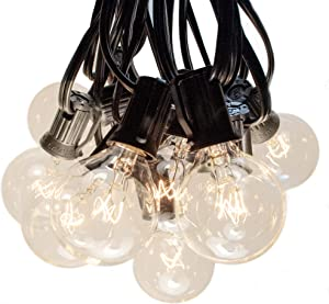 Hometown Evolution, Inc. 50 Foot G40 Globe String Lights with Clear Bulbs (Black Wire) for Outdoor Patio, Backyard, Deck, Garden, Parties and More