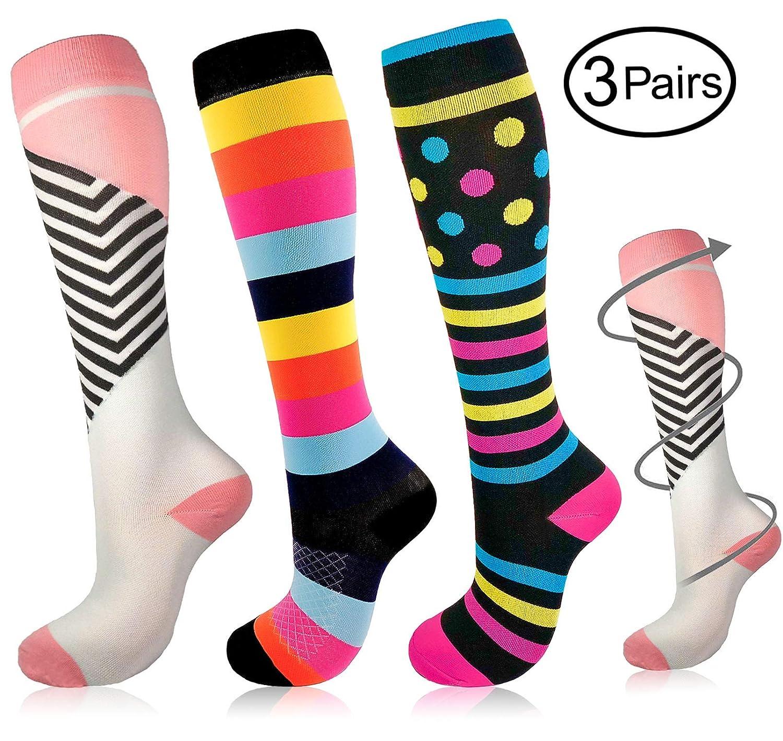 MORSTANE 3 Pairs Compression Socks Women & Men Knee High Compression Stockings for Running Sports Teacher Worker Nurses Travel Pregnancy Swelling Professional Medical Graduated (2030 mmHg)  L XL
