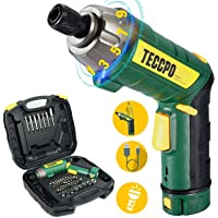 Atornillador Eléctrico 6N.m, TECCPO Destornillador Eléctrico, 45 Accesorios, 9 Torsión Ajustable, 2 Luz LED, Inferior como Linterna, Carga Cable USB…