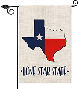 AVOIN Texas State Garden Flag Vertical Double Sided Lone Star State, Americana States Burlap Flag Yard Outdoor Decoration 12.5 x 18 Inch