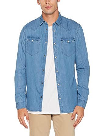 f7255d34a6b41 Selected Homme Shnonened Shirt LS STS, Chemise Casual Homme, Bleu (Light  Blue Denim
