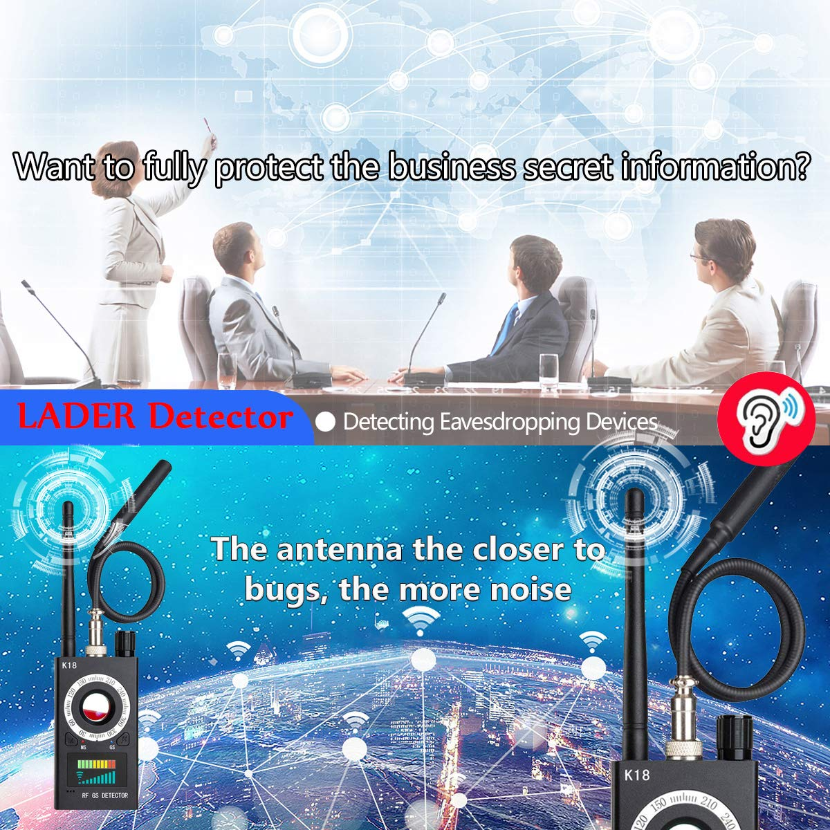 Amazon.com : Anti Spy Hidden Camera Detector, Wireless RF Bug Hidden Camera Lens Detector Radio Wave Signal Detect Full-Range GSM Device Finder for Anti ...