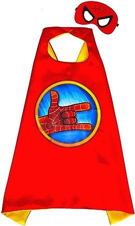 Spiderman rojo capa y máscara para niños superhéroe - Superhéroes niños niñas niños Fancy disfraz de