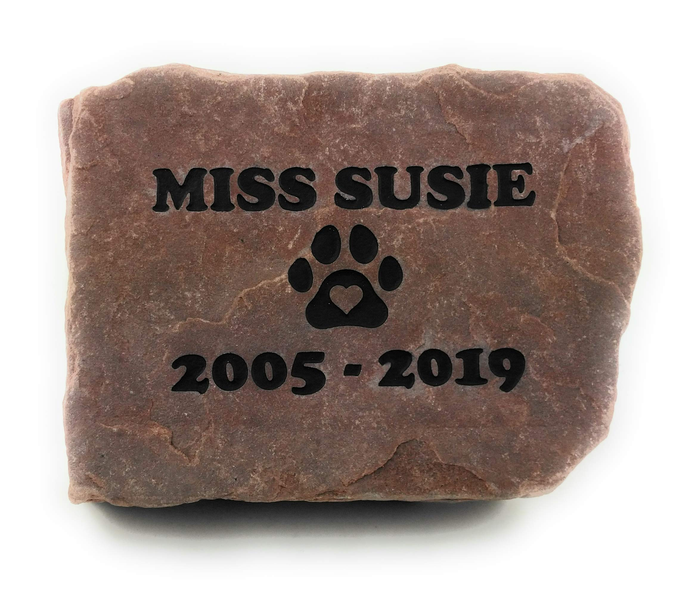 GraphicRocks Sandblast Engraved Red Stone Pet Memorial Headstone Grave Marker Dog Cat npp by GraphicRocks