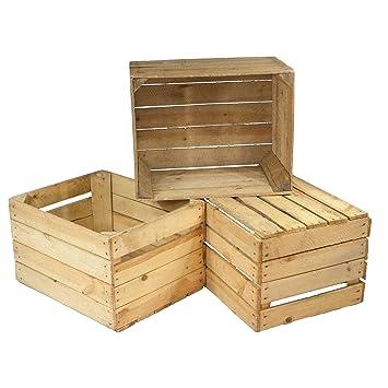 Amazon.de: 3er Set alte Holzkisten - gebrauchte Obstkisten ...