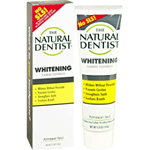 The Natural Dentist Healthy Teeth & Gums Whitening Plus Toothpaste, Peppermint Twist 5 oz (Pack of 2)