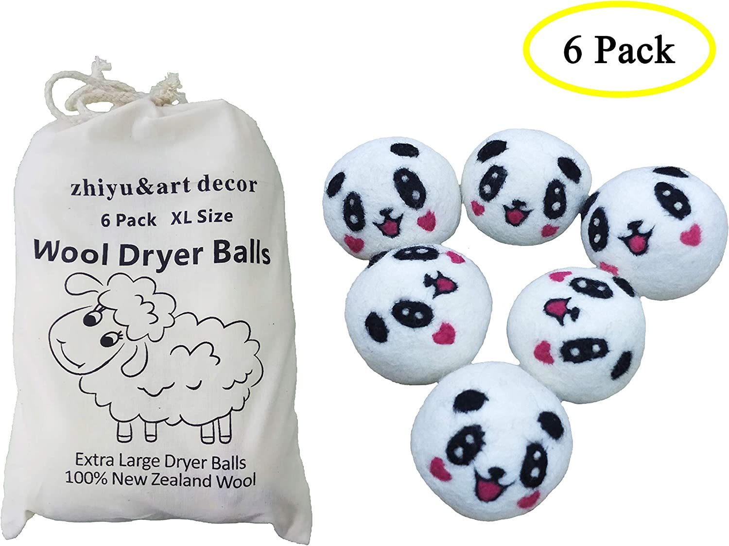 Organic Eco Wool Dryer Balls 6 Pack,XL Premium Reusable Natural Fabric Softener Eco Eggs Laundry Dryer Balls Home Washing Ball (Panda Smile)