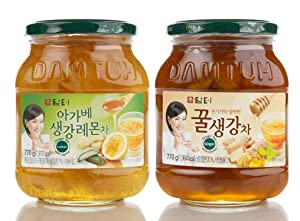 DAMTUH Korean Agave Ginger Lemon Tea 27.16 Oz (770g) + Honey Ginger Tea 27.16 Oz (770g)