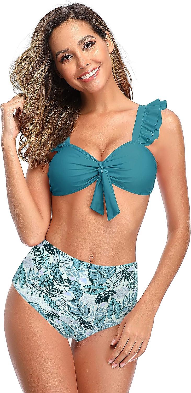 SHEKINI Womens Split Bikini Ruffled Lace-up Swimsuit High Waist Swim Trunks Printed Swim Trunks