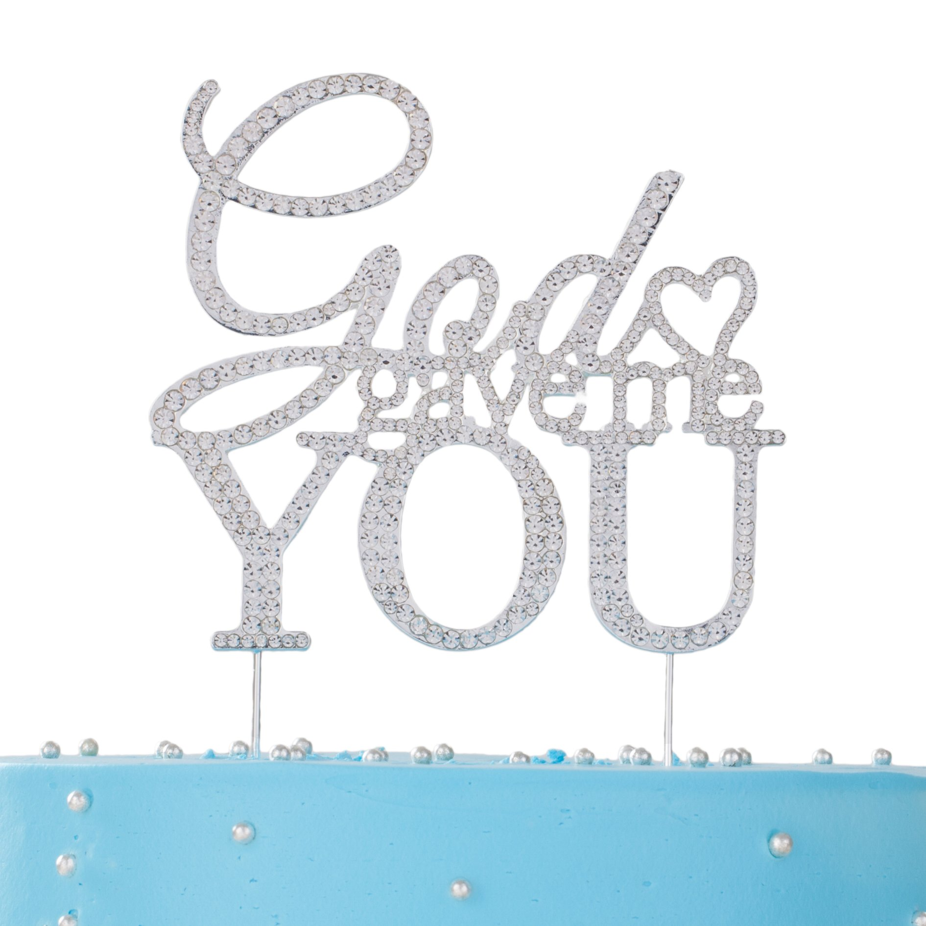 LOVENJOY with Gift Box God Gave Me You Cake Topper Crystal Rhinestone Christian Wedding Engagement Decoration Silver (4.5-inch)