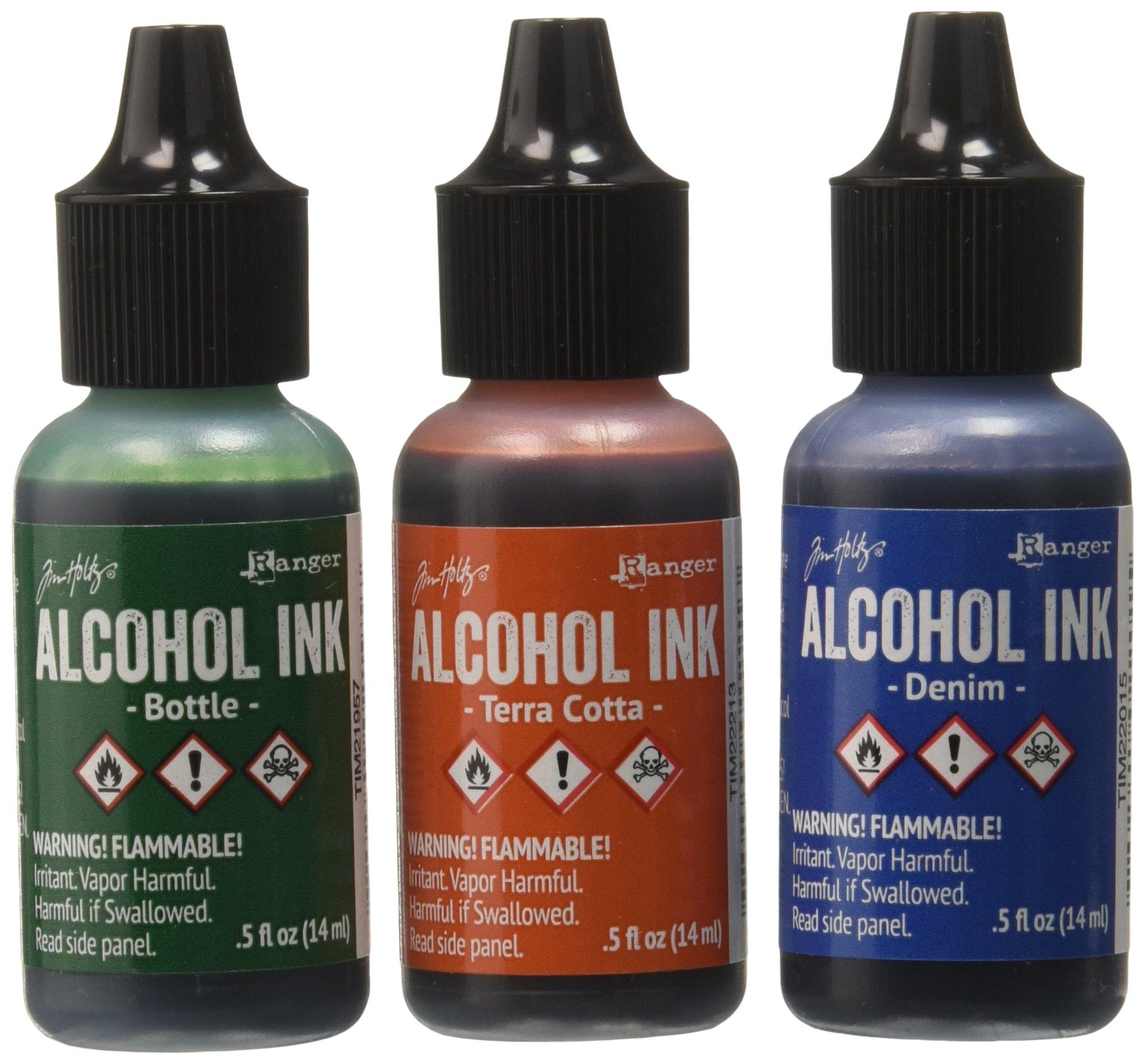 Ranger Adirondack Alcohol Ink 1/2-Ounce, 3-Pack, Rustic Lodge, Bottle/Terra Cotta/Denim by Ranger
