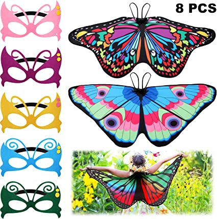 8 Pieces Kids Butterfly Costume Fairy Butterfly Wings Masquerade Masks For Boys Girls Dress Up Pretend Play Party Favors Color Set 3 Color Set 2 Color Set 2 Costumes Amazon Canada