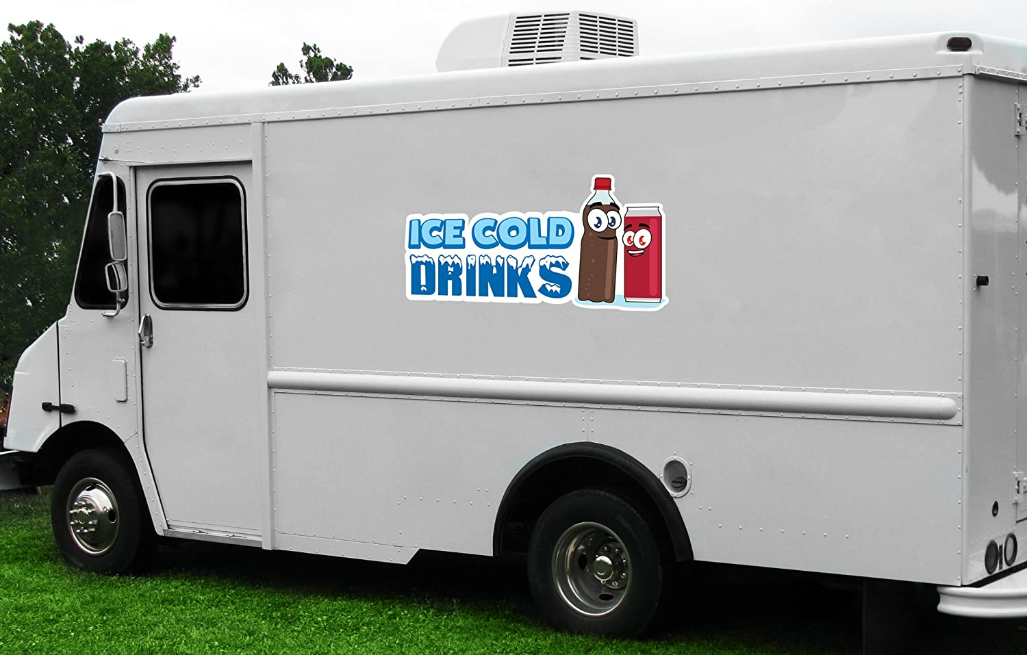 ICE Cold Drinks 3 8 Concession Decal Sign cart Trailer Stand Sticker Equipment