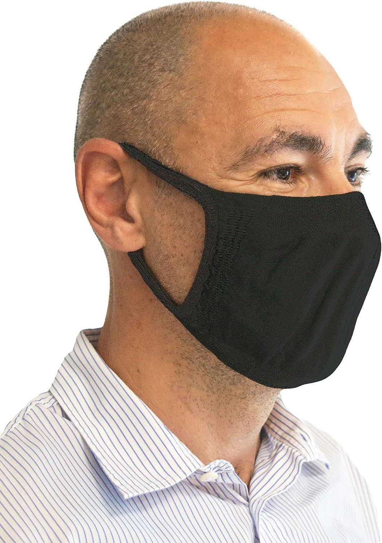 Relaxsan - Set 3 [Negro] Bandas filtrantes Rostro Boca Nariz Lavables Reutilizables absorbentes Tejido bacteriostático