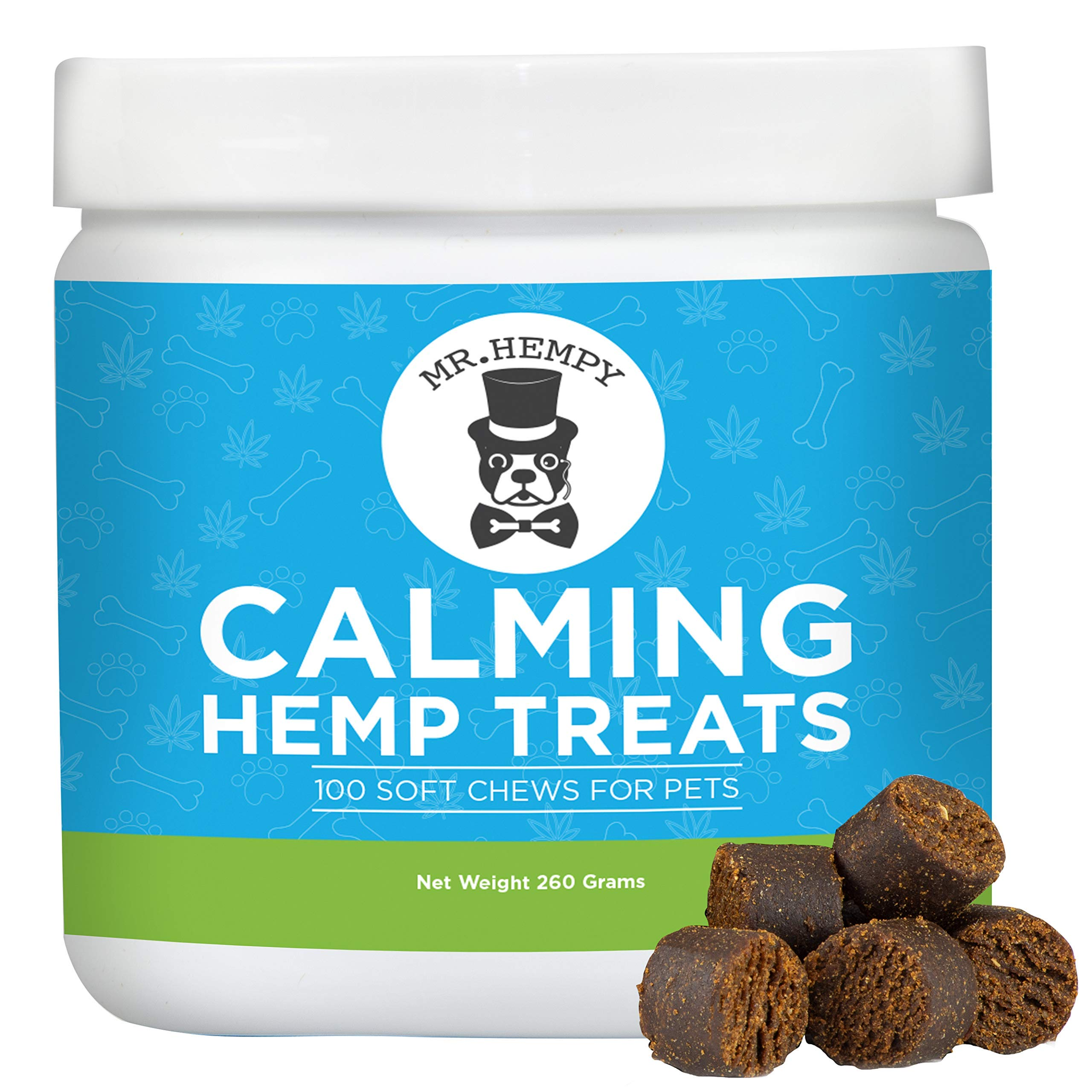 Calming Treats for Dogs - Great Anxiety and Stress Relief, Calming Aid and Composure Support - 100 Tasty Chews - with Hemp Oil, Melatonin, Thiamine and Camomile, Made in USA by Mr. Hempy