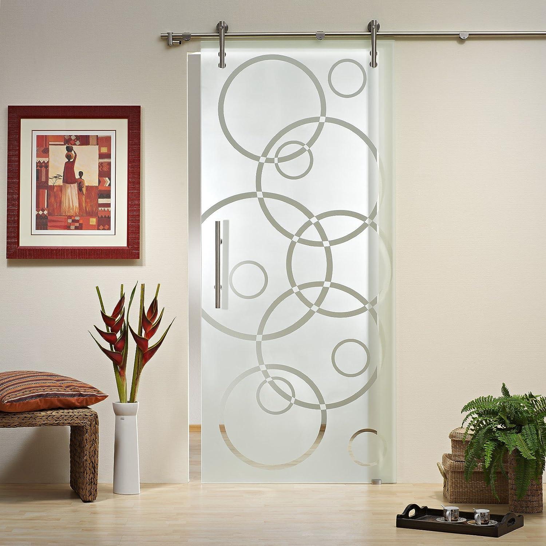 Correderas de cristal de la puerta ST 791 - 900 x 2050 x 8 mm a la derecha, 8 mm de cristal de seguridad, cristal y decoración, barra y sistema de guías