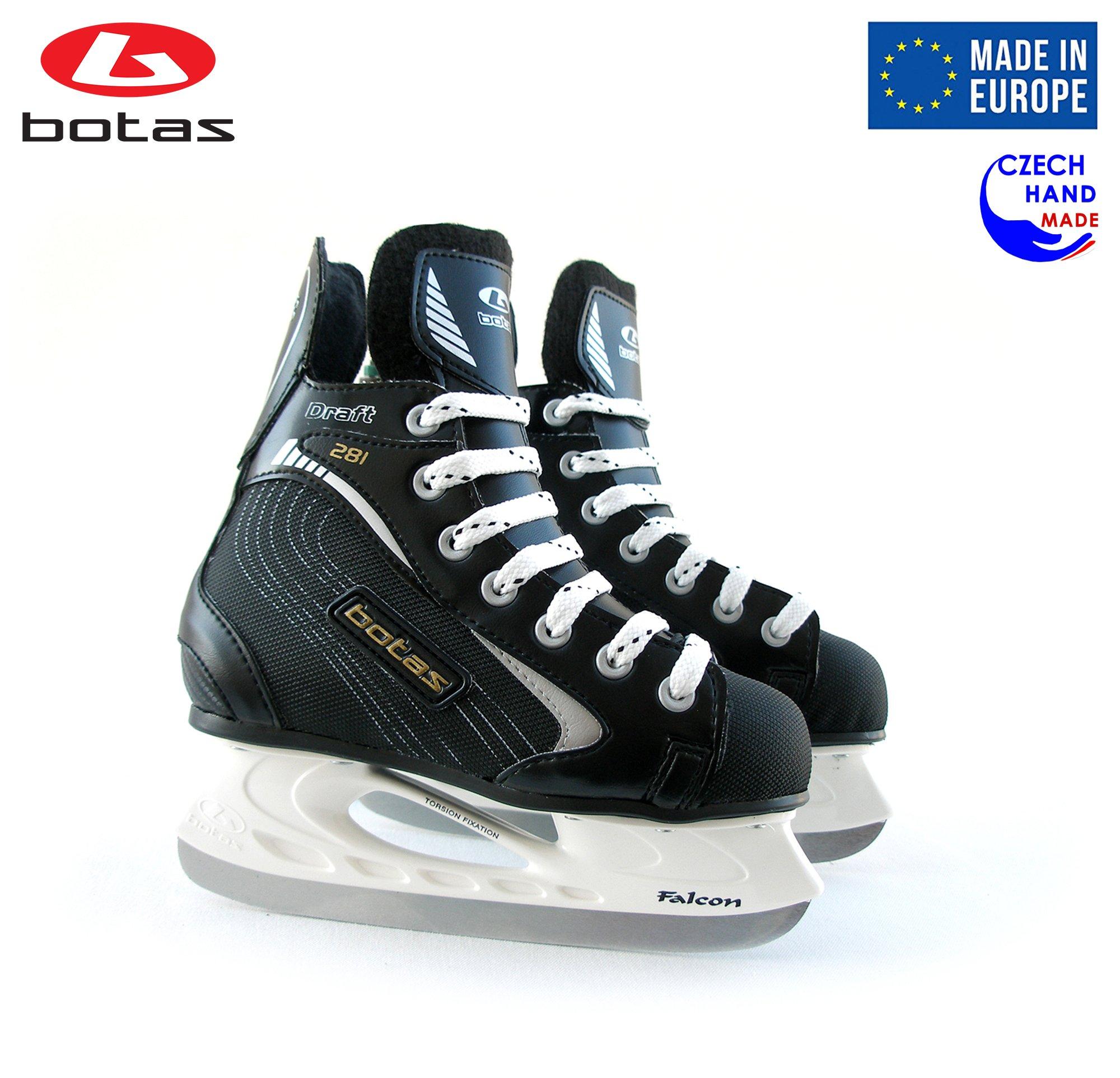 Botas - Draft 281 - Kids Ice Hockey Skates | Made in Europe (Czech Republic) | Color: Black, Size Child 1