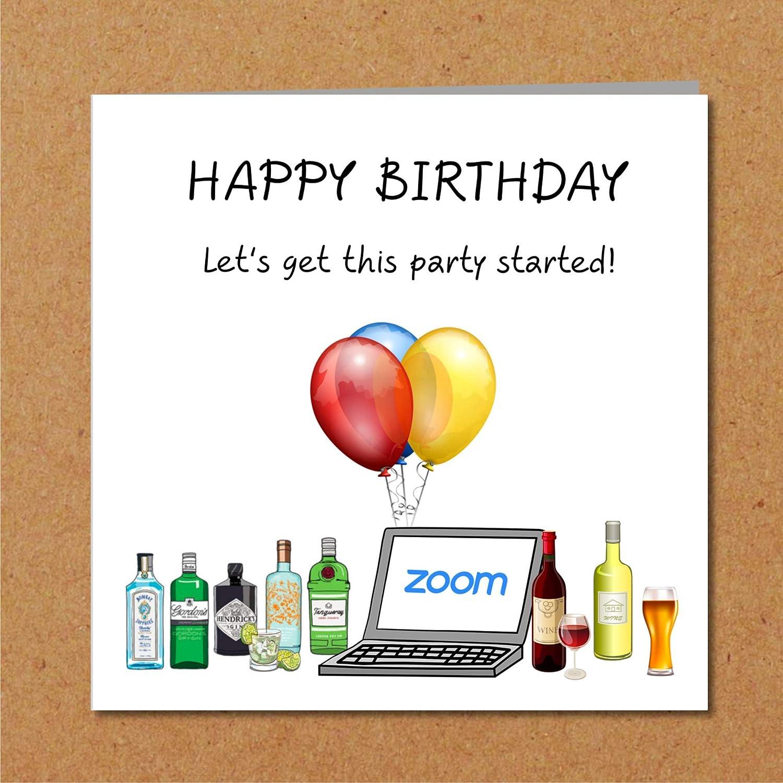 Lockdown Zoom Birthday Party Quarantine Self Isolation Virus Birthday Card Facetime Funny Amusing Humour