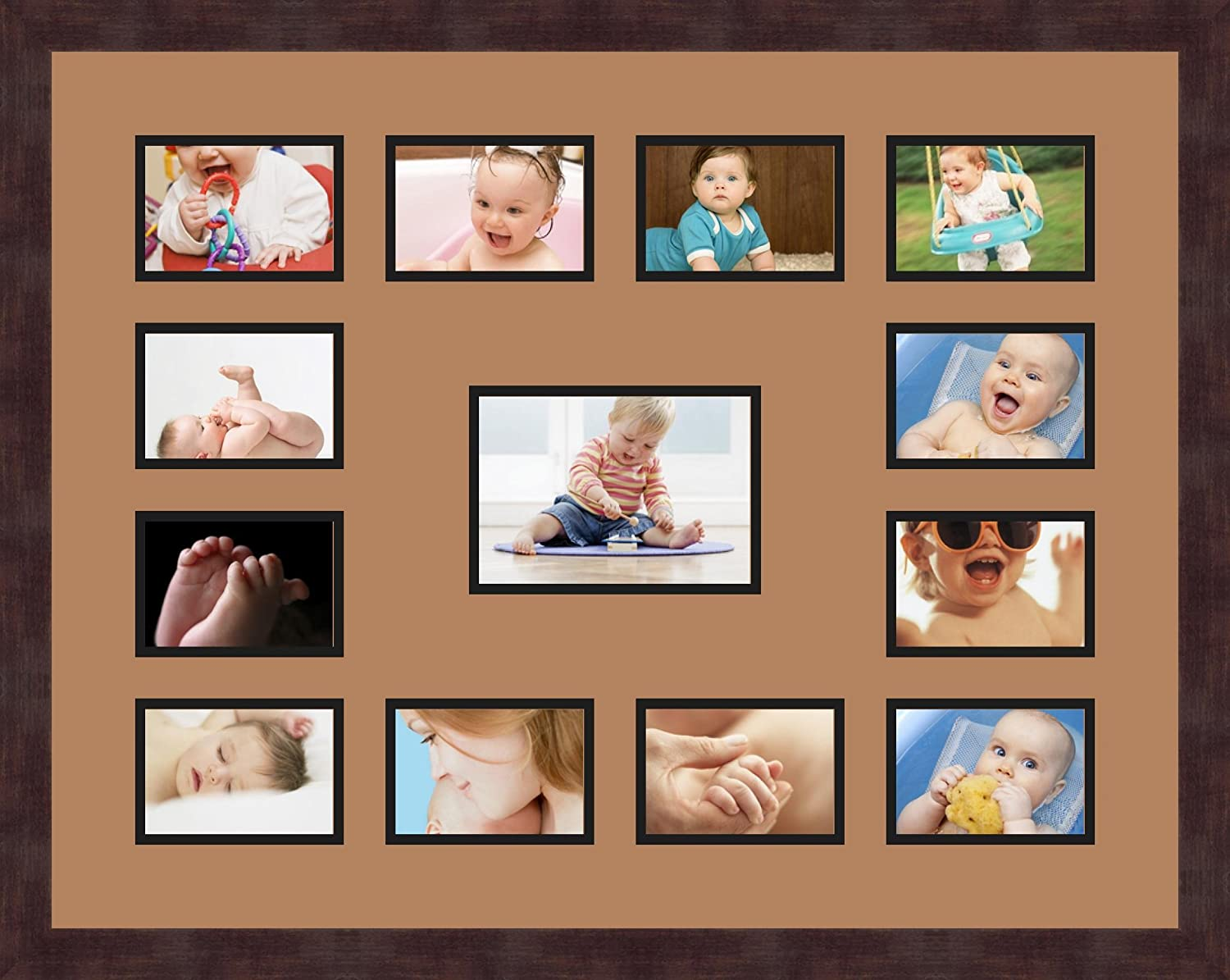 Art to Frames Double-Multimat-612-771//89-FRBW26061 Collage Frame Photo Mat Double Mat with 12-3.5x5 and 1-5x7 Openings and Espresso Frame