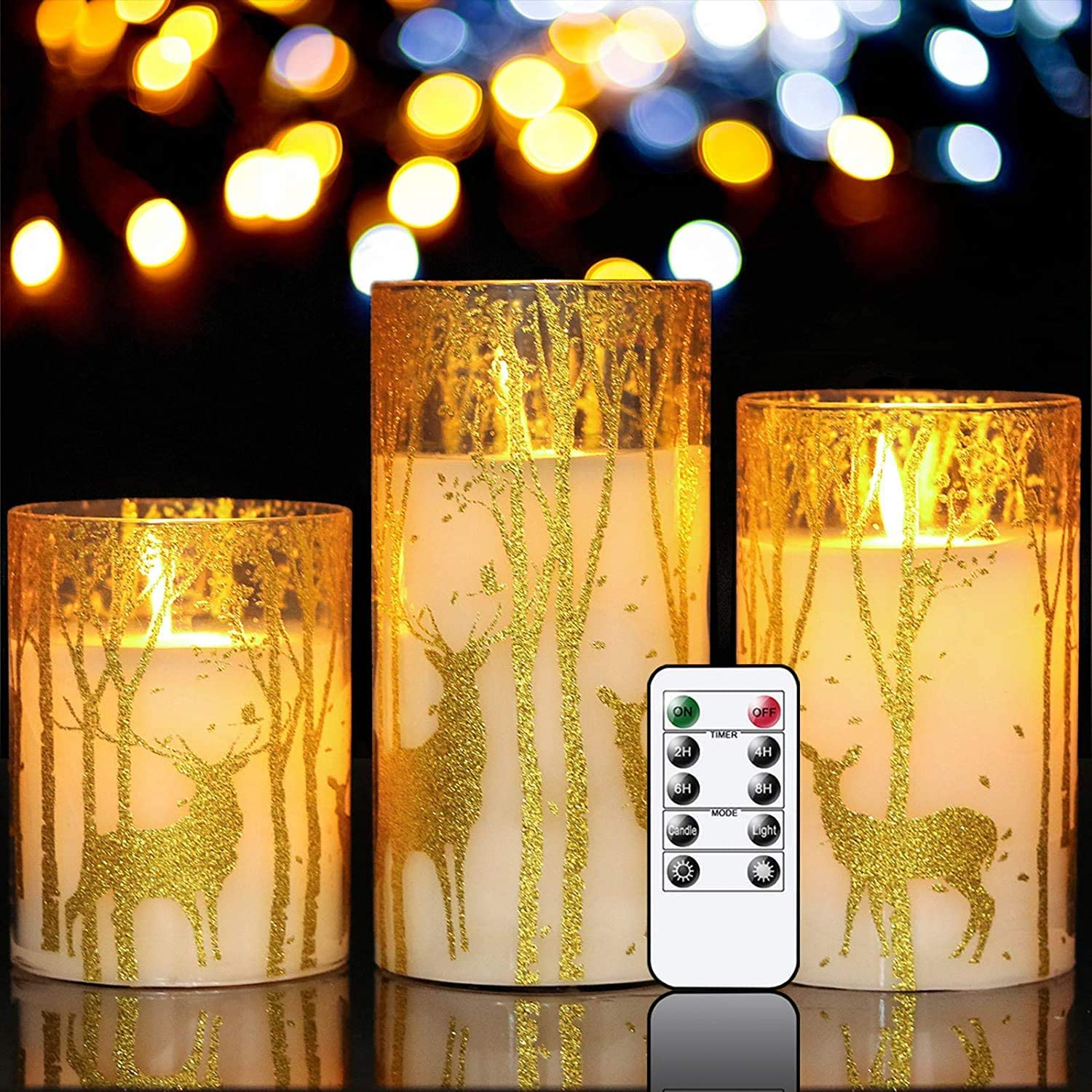 GenSwin Glass Flameless Candles Flickering with Deer Decor and Remote Timers, Battery Operated Moving Wick Led Light, Set of 3 Real Wax Pillar Candles for Christmas Home Decoration