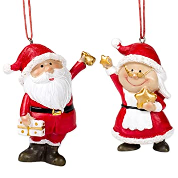 Santa Mrs Claus 3 5 Inch Resin Christmas Ornament Figurines Set Of 2